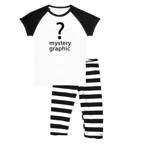 Black Stripe Outfit Raglan Top And Capri Mystery