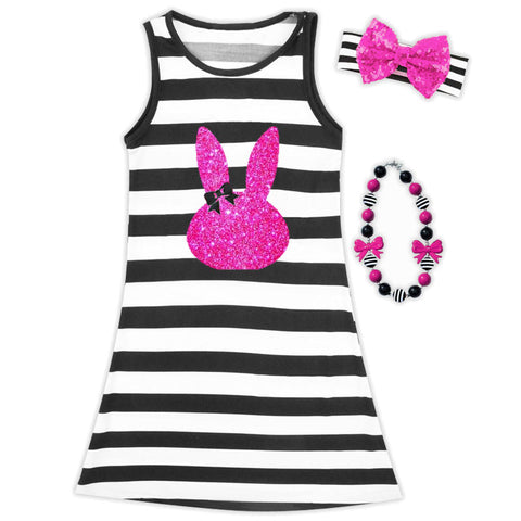 Black Stripe Pink Bunny Dress