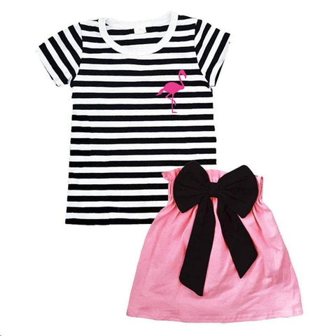 Black Stripe Pink Flamingo Outfit Bow Top And Skirt