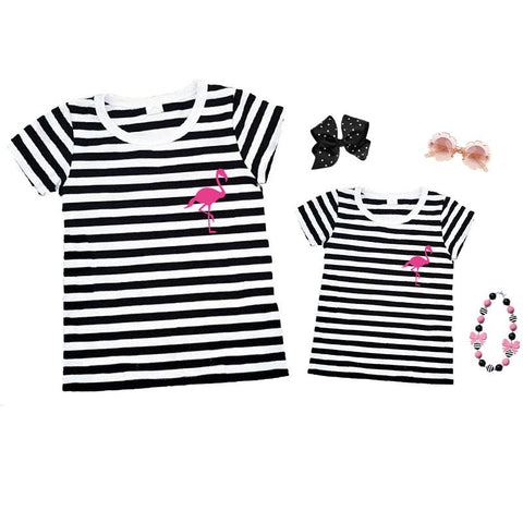 Black Stripe Pink Flamingo Shirt Mommy And Me
