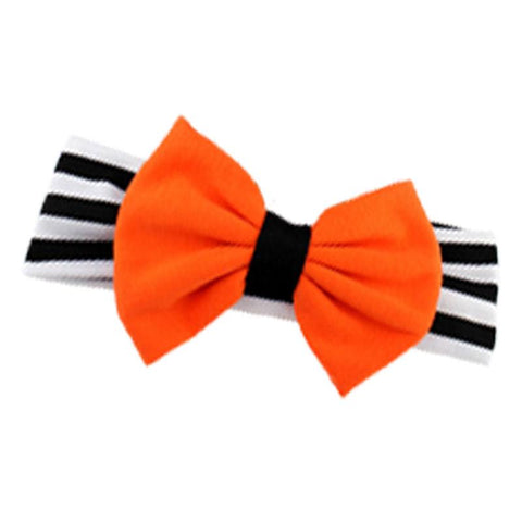 Black Stripe Pumpkin Orange Messy Bow Headband