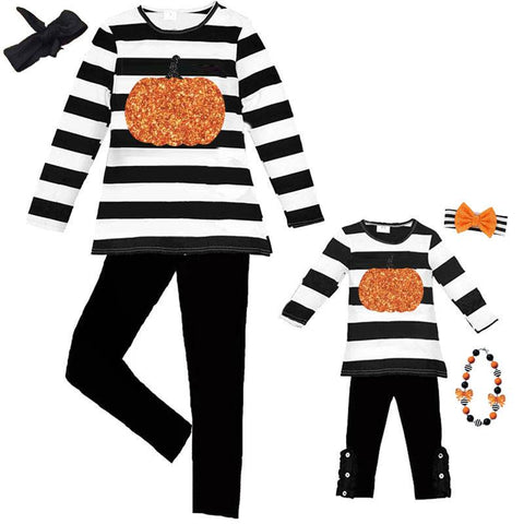 Black Stripe Pumpkin Outfit Sparkle Top And Pants Mommy And Me