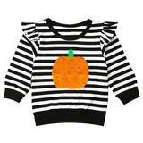 Black Stripe Pumpkin Shirt Ruffle Mommy And Me