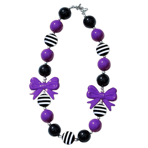 Black Stripe Purple Bow Necklace