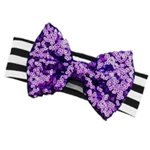 Black Stripe Purple Sequin Bow Headband