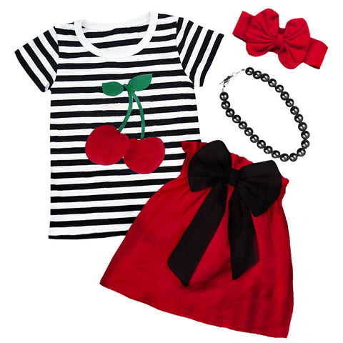 Black Stripe Red Cherry Top And Skirt