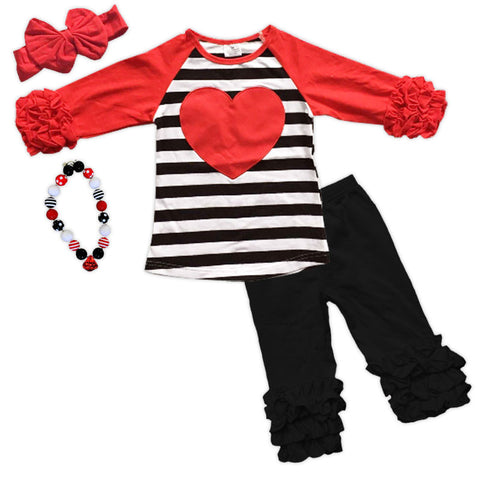Black Stripe Red Heart Icicle Top And Pants