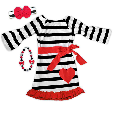 Black Stripe Red Heart Ruffle Dress