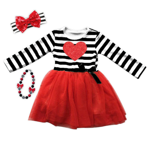 Black Stripe Red Heart Tutu Dress