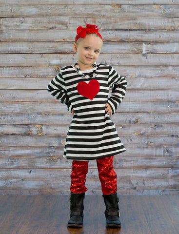 Black Stripe Red Sequin Heart Pant Set