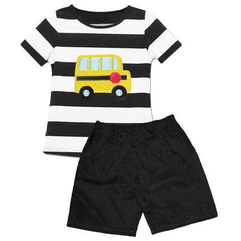 Black Stripe School Bus Shirt And Shorts