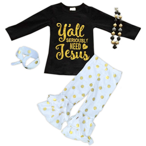 White Gold Polka Seriously Need Jesus Top Pant Set