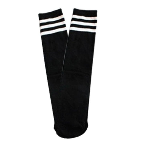 Black Stripe Socks Knee High White
