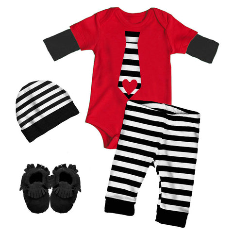 Black Stripe Tie Outfit Red Heart Onesie And Pants