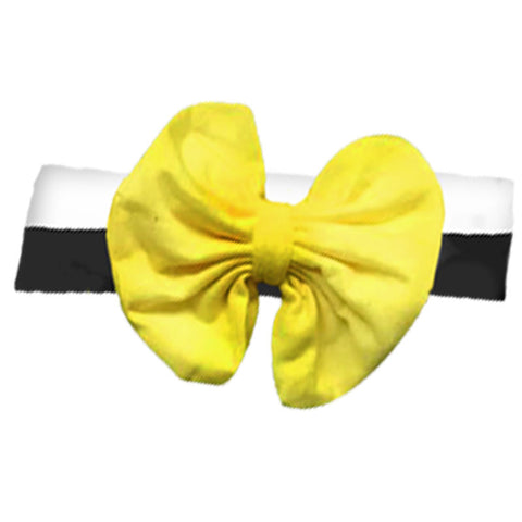 Black Stripe Yellow Messy Bow Headband