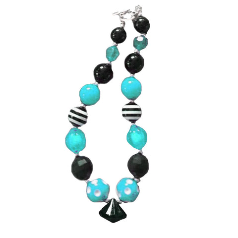 Black Teal Necklace Diamond Stripe