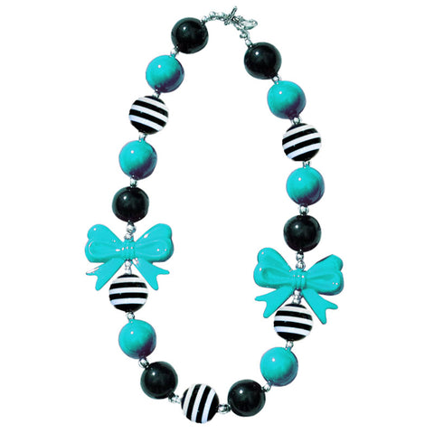 Black Teal Necklace Stripe Bow