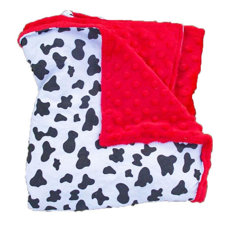 Black - White Cow Red Minky Blanket