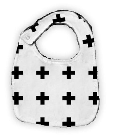 Black White Cross Black Minky Bib