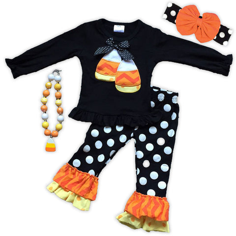 Black White Polka Candy Corn Pant Set