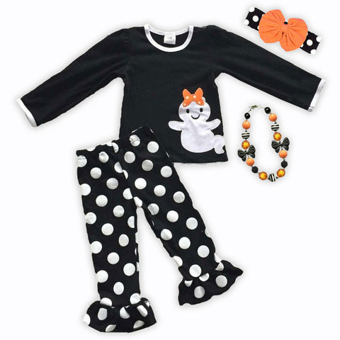 Black White Polka Ghost Pant Set