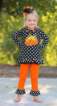 Black White Polka Pumpkin Capri Set
