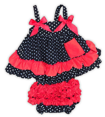 Black White Polka Red Ruffle Two Piece