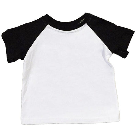 Black White Raglan Shirt Short Sleeve Boy