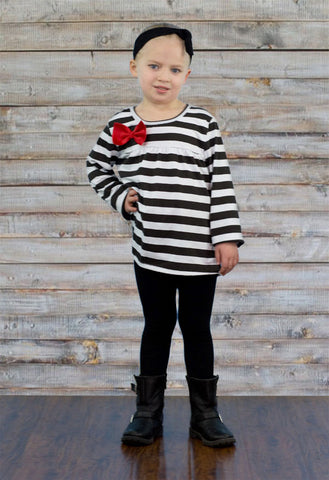 Black White Stripe Bow Pant Set