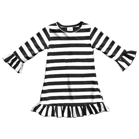 Black White Stripe Dress Ruffle