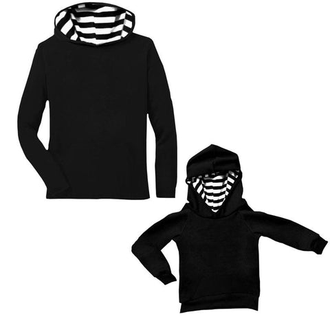 Black White Stripe Hoodie Long Sleeve Mommy Me