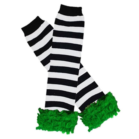 Black White Stripe Leg Warmers Green Ruffle