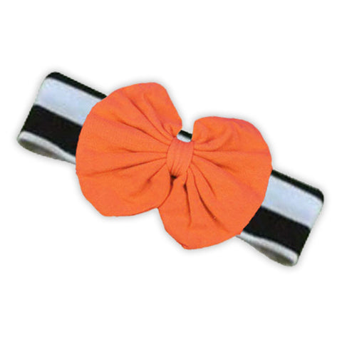 Black White Stripe Orange Messy Headband