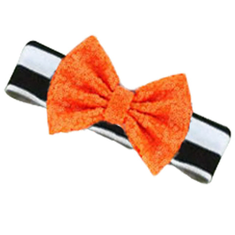 Black White Stripe Orange Sequin Bow Headband
