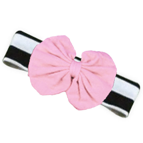 Black White Stripe Pink Messy Bow Headband