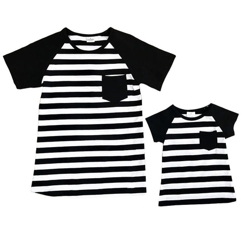Black White Stripe Pocket Mommy Me Shirt
