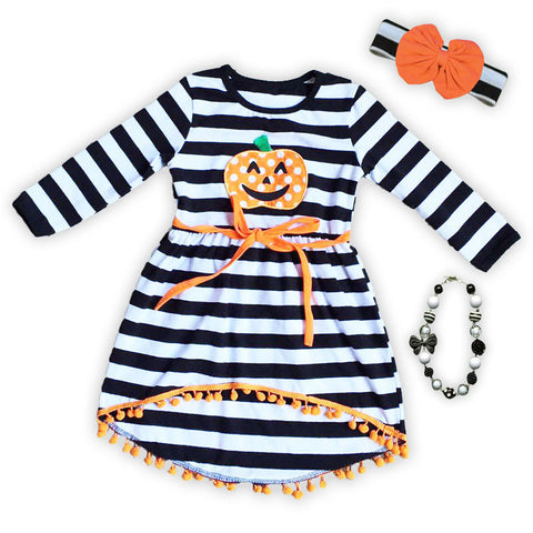 Black White Stripe Pumpkin Hi Low Dress