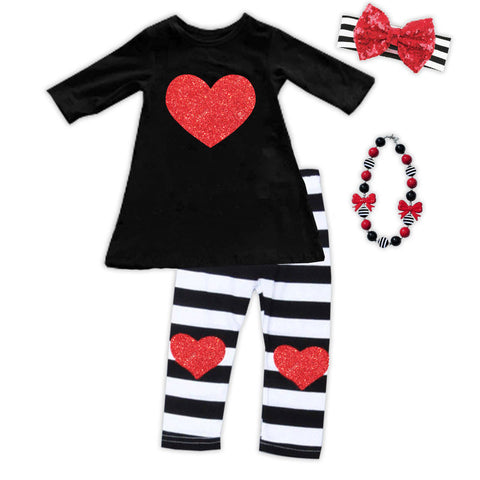 Black White Stripe Red Heart Top And Pants
