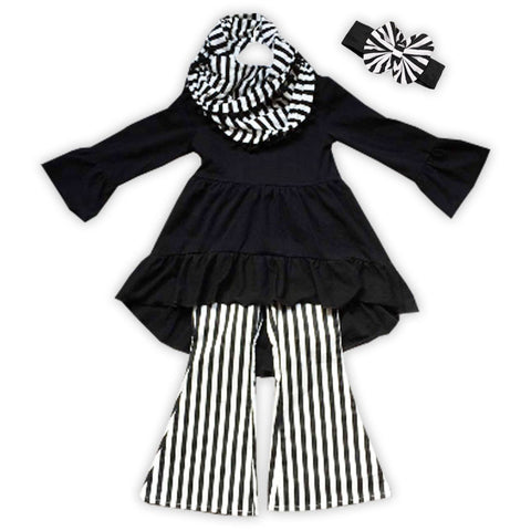 Black White Stripe Scarf Top Pant Set
