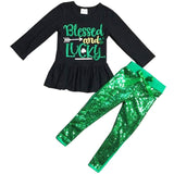 Blessed And Lucky Outfit Green Sequin Top And Pants