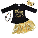Bling In New Year Shirt Gold Sparkle Black Mommy Me
