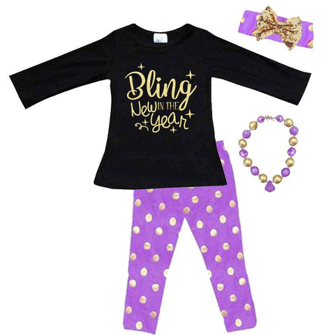 Bling In The New Year Outfit Gold Purple Polka Dot Top And Pants