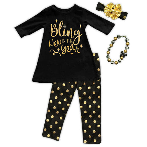 Bling In The New Year Polka Shirt And Pants