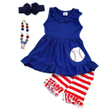 Blue Baseball Outfit Red Stripe Top And Shorts