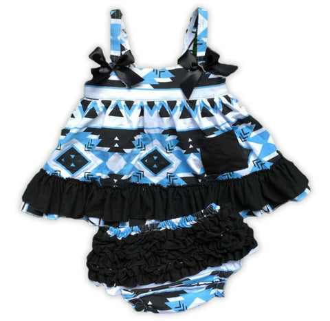 Blue Black Aztec Two Piece