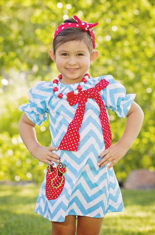 Blue Chevron Red Polka Apple Dress