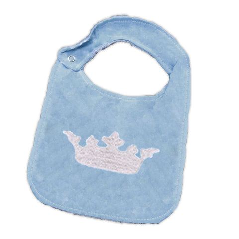 Blue Crown Blue Minky Bib