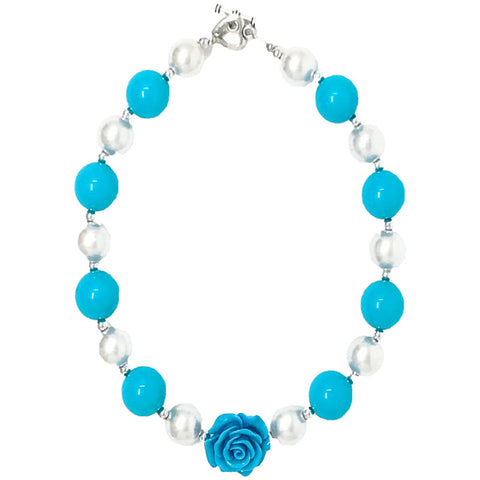Blue Flower Necklace White Gumball