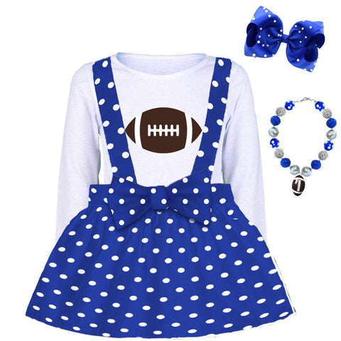 Blue Football Jumper Polka Dot And Brown White Top