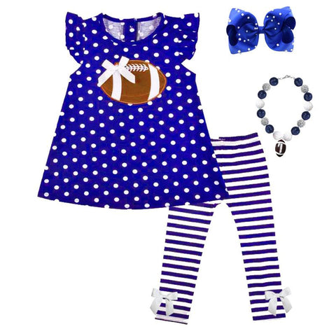 Blue Football Outfit Polka Dot Stripe Top And Pants